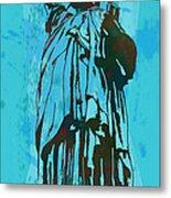Statue Liberty - Pop Stylised Art Poster Metal Print by Kim Wang