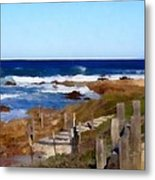 Steps To The Sea Metal Print by Barbara Snyder
