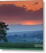 Sunset Over Mt. Mansfield In Stowe Vermont Metal Print by Don Landwehrle