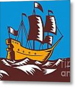 Tall Sailing Ship Retro Woodcut Metal Print by Aloysius Patrimonio