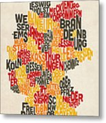 Text Map Of Germany Map Metal Print by Michael Tompsett