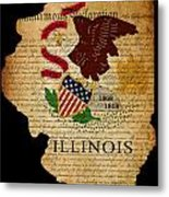Usa American Illinois State Map Outline With Grunge Effect Flag  Metal Print by Matthew Gibson