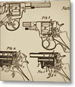 Vintage Colt Revolver Drawing  Metal Print by Nenad Cerovic