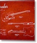 Vintage Fender Guitar Patent Drawing From 1951 Metal Print by Aged Pixel