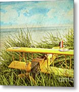 Vintage Toy Plane In Tall Grass At The Beach Metal Print by Sandra Cunningham