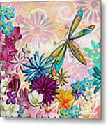 Whimsical Floral Flowers Dragonfly Art Colorful Uplifting Painting By Megan Duncanson Metal Print by Megan Duncanson