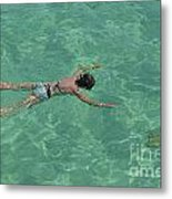 Woman Snorkeling By Turquoise Sea Metal Print by Sami Sarkis