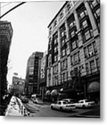 yellow cabs wait outside Macys at Broadway and 34th Street Herald Square new york Metal Print by Joe Fox
