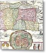 1632 Tirinus Map Of The Holy Land Metal Print by Paul Fearn