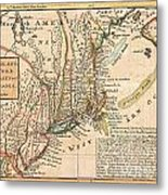 1729 Moll Map Of New York New England And Pennsylvania  Metal Print by Paul Fearn