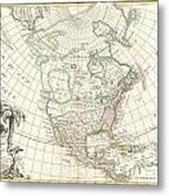 1762 Janvier Map Of North America  Metal Print by Paul Fearn