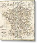 1799 Clement Cruttwell Map Of France In Departments Metal Print by Paul Fearn