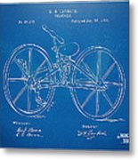 1869 Velocipede Bicycle Patent Blueprint Metal Print by Nikki Marie Smith
