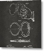 1891 Police Nippers Handcuffs Patent Artwork - Gray Metal Print by Nikki Marie Smith