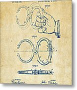 1891 Police Nippers Handcuffs Patent Artwork - Vintage Metal Print by Nikki Marie Smith