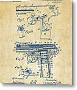 1911 Automatic Firearm Patent Artwork - Vintage Metal Print by Nikki Marie Smith