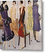 1920s Fashion  1925 1920s Uk Womens Metal Print by The Advertising Archives