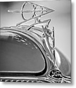 1936 Ford Deluxe Roadster Hood Ornament 2 Metal Print by Jill Reger