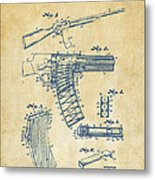 1937 Police Remington Model 8 Magazine Patent Artwork - Vintage Metal Print by Nikki Marie Smith