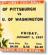 1937 Rose Bowl Ticket Metal Print by David Patterson