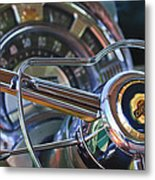 1950 Chrysler New Yorker Coupe Steering Wheel Emblem Metal Print by Jill Reger