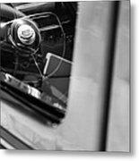 1950 Ford Custom Deluxe Woodie Station Wagon Steering Wheel Emblem Metal Print by Jill Reger