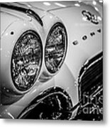 1950's Chevrolet Corvette C1 In Black And White Metal Print by Paul Velgos