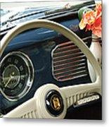 1952 Volkswagen Vw Bug Steering Wheel Metal Print by Jill Reger