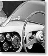 1953 Ferrari 340 Mm Lemans Spyder Steering Wheel Emblem Metal Print by Jill Reger