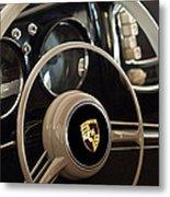 1954 Porsche 356 Bent-window Coupe Steering Wheel Emblem Metal Print by Jill Reger