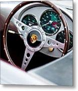 1955 Porsche Spyder Replica Steering Wheel Emblem Metal Print by Jill Reger