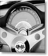 1957 Chevrolet Corvette Convertible Steering Wheel 2 Metal Print by Jill Reger