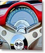 1957 Chevrolet Corvette Convertible Steering Wheel Metal Print by Jill Reger