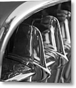 1957 Corvette Grille Black And White Metal Print by Jill Reger