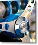 1958 Chevrolet Corvette Steering Wheel Metal Print by Jill Reger