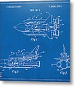 1975 Space Shuttle Patent - Blueprint Metal Print by Nikki Marie Smith