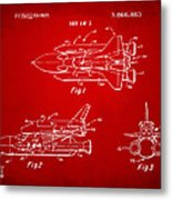 1975 Space Shuttle Patent - Red Metal Print by Nikki Marie Smith