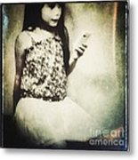 A Girl With Iphone Metal Print by Elena Nosyreva