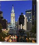 Ben Franklin Parkway And City Hall Metal Print by John Greim