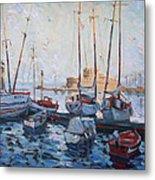 Boats In Rhodes Greece  Metal Print by Ylli Haruni