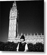 british metropolitan police office guarding the houses of parliament London England UK Metal Print by Joe Fox