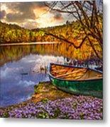 Canoe At The Lake Metal Print by Debra and Dave Vanderlaan