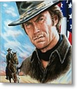 Clint Eastwood American Legend Metal Print by Andrew Read
