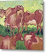 Cows Metal Print by Vincent Van Gogh