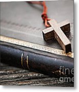 Cross On Bible Metal Print by Elena Elisseeva