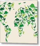 Dinosaur Map Of The World Map Metal Print by Michael Tompsett