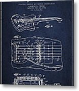 Fender Floating Tremolo Patent Drawing From 1961 - Navy Blue Metal Print by Aged Pixel