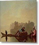 Fur Traders Descending The Missouri Metal Print by George Caleb Bingham