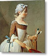 Girl With Racket And Shuttlecock Metal Print by Jean-Baptiste Simeon Chardin