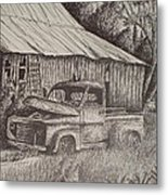 Grandpa's Old Barn With Chevy Truck Metal Print by Chris Shepherd